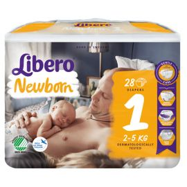 Scutece Libero Baby Soft 1 New Born, 2-5 kg, 28 buc